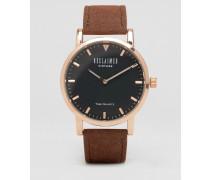 Uhr mit Armband aus hellbraunem Wildleder Bronze