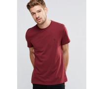 Burgunderrotes T-Shirt mit Pfauenlogo Rot