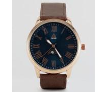 Armbanduhr mit Sonnen- und Mond-Anzeige Braun