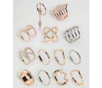 Hochwertige Ringe im 13er-Pack Mehrfarbig