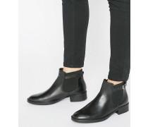 Chelsea-Stiefel aus Leder mit Schnalle Schwarz