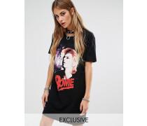 T-Shirt-Kleid mit Bowie-Print Schwarz