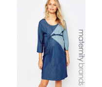 Mamalicious Jeanskleid in Patchwork-Optik Blau