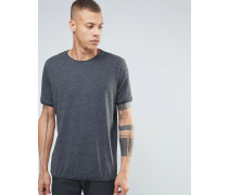 Dunkles T-Shirt mit ungesäumtem Saum Grau