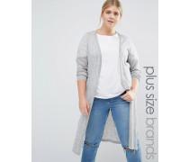 Lange Strickjacke mit Seitenschlitzen Grau
