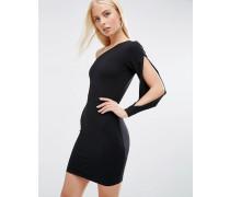 Minikleid mit One-Shoulder-Design mit Schlitz Schwarz