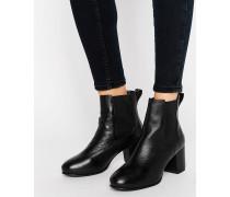 Chelsea-Stiefel mit mittelhohem Absatz Schwarz