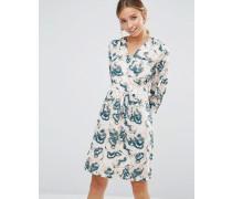Closet Blau gemustertes, langärmliges Kleid mit überkreuztem Design Cremeweiß