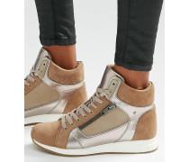 Hohe Sneaker mit Metallic-Verzierung Beige
