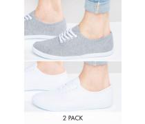 Leinenschuhe in Grau und Weiß, 2er-Pack, SIE SPAREN 20 Mehrfarbig