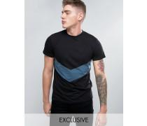 T-Shirt mit spitzem Streifenmuster Schwarz