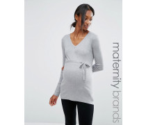 Mamalicious Maternity Feinstrick-Pullover Grau