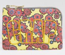 Clutch mit Blumenmuster und Crap-Print Mehrfarbig