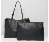 Shopper-Tasche mit Bogenkante und abnehmbarer Clutch Schwarz