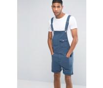 Kurze Jeans-Latzhose in Dunkelblau Blau