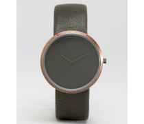 Elegante Uhr in Khaki und Kupfer Grün