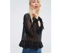 Transparente Bluse mit Rüschenbesatz Schwarz