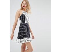 Neckholder-Kleid mit Streifenmix Mehrfarbig