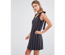 Gestreiftes Kleid mit Schleife an der Schulter Mehrfarbig