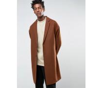Mantel in dunklem Rostrot aus Wollmischung mit abfallenden Schultern Braun