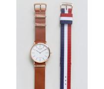 Armbanduhr mit Wechselbänder aus Leder und Leinen im Geschenkset Mehrfarbig