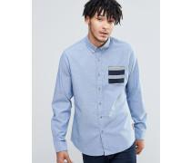 Hemd mit gemusterter Kontrasttasche Blau