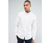 Schmales langärmliges Hemd mit hübschem Print Weiß
