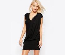 Pop Figurbetontes Kleid mit V-Ausschnitt Schwarz