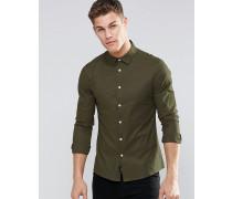 Elegantes, enges Oxford-Hemd in Khaki mit kurzem Arm Grün