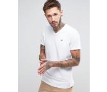 Must Have Schmales T-Shirt mit V-Ausschnitt in Weiß mit meliertem Seagull-Logo Weiß