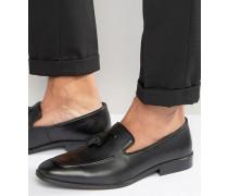 Schwarze Tasselloafer aus Leder mit gerundeter Zehenpartie Schwarz