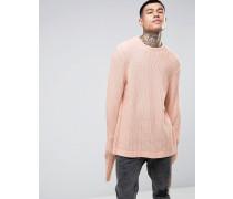 Strukturierter Oversize-Pullover mit weit geschnittenen Ärmeln Rosa