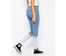 Enge Jeans mit Batikmuster Blau