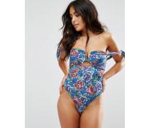 Exklusiver geblümter Bardot-Badeanzug für die vollere Brust , Körbchengrößen DD bis G Mehrfarbig