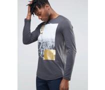 Langärmliges T-Shirt mit Print in Metallic Schwarz