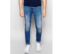 Cirrus Skinny-Stretchjeans in Mid Clear Blue-Waschung Blau