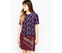 Meliertes Jacquard-T-Shirt Violett