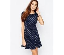 Ausgestelltes Kleid mit Gänseblümchenmuster Marineblau