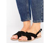 Sandale mit Überkreuzriemen Schwarz