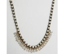 Statement-Halskette mit Kristallen Gold