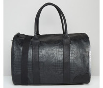 Elegante, schwarze Tragetasche aus Kunstleder mit Krokodil-Effekt Schwarz