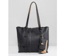 Shopper-Tasche mit abnehmbarer Geldbörse Schwarz