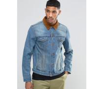Schmale Jeansjacke mit Kontrastkragen aus Cord in Blau Blau