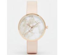 Armbanduhr mit marmoriertem Zifferblatt Cremeweiß