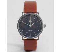 Hellbraune Armbanduhr mit schlichtem Zifferblatt Braun
