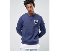 Sweatshirt mit Rundhalsausschnitt und Applikation Blau