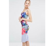 Emore Figurbetontes Kleid mit Aufdruck Focus Bouquet Mehrfarbig