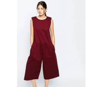 Oversize-Overall mit geraffter Taille Rot