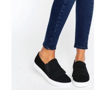 Sneaker zum Hineinschlüpfen mit Fransen Schwarz