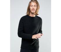 Pullover mit Rippen am Arm Schwarz